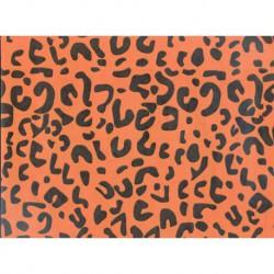 Papel Regalo Print Leopardo Naranja-Negro.
